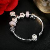 Colar de moda flor branca e pérolas de Murano rosa Pulseiras