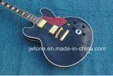 Le corps creux a arqué la guitare électrique de premier de dessus de dos de perle de bloc de marqueterie jazz blanc obligatoire multi de qualité