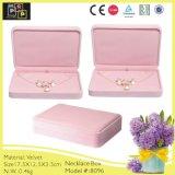 Caixa decorativa de Disply da colar do gancho de veludo cor-de-rosa (8096)