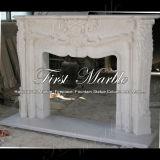 Cheminée blanche Mfp-359 de Carrare de cheminée de cheminée en pierre de cheminée de marbre de granit