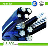 Кабель пачки низкого напряжения тока надземным изолированный кабелем алюминиевый воздушный