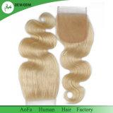 Fechamento louro natural humano do laço da alta qualidade 100% do cabelo do russo