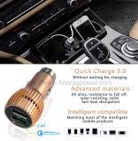 QC 3.0 van de Lader van de Auto USB van het roestvrij staal Dubbele de Universele Lader van de Auto USB voor Mobiele Apparaten