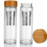 doppel-wandige Glasflasche des Borosilicat-400ml mit langem Grobfilter