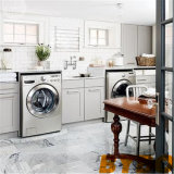 목제 싱크대 (BY-L-10)를 가진 회색 초막 세탁실