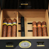 Gavetas pretas do Humidor 3 do cozimento do piano do cigarro do cedro do gabinete da caixa do cigarro de Cohiba com higrómetro & humidificador