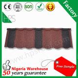 Tuile de toiture enduite de pierre rouge et noire de tuile de toit plat glacée