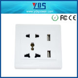 EU/UK/Us/Un Type Electrical Socket、5V 2.1A Dual USB Wall Socket