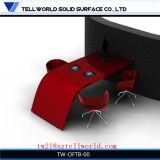 Roter halber runder Corian künstlicher oberster moderner Luxuxkonstruktionsbüro-Versammlungstisch-Multifunktionsmarmorentwurf