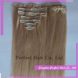 Естественный зажим кератина девственницы в волосах выдвижения