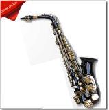 Laque bleue, saxophone principal blanc d'alto de la laque eb avec des clefs plaquées par or, instrument musical