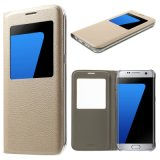 Cubierta de cuero del tirón para la caja del teléfono de la característica del soporte de la opinión de la ventana de Samsung S8