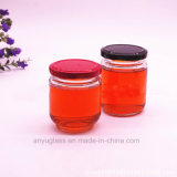 tarros de cristal de la salmuera redonda de 195ml 240ml, botellas de cristal para la miel, alimento, miel de la abeja