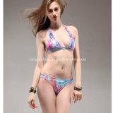 Gedruckte aufgefüllte Bandeau-Bikini-Badebekleidung