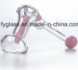 pipe de Bubblar en verre de main 7inch avec des marbres roses et verts de couleur de Slyme