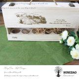 Hongdao caja de madera de encargo del almacenaje del vino con el cajón Wholesale_L