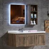 Vaidade de madeira do banho da parede nova do projeto com gabinete lateral