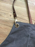 Tablier ciré durable fait sur commande de travail de toile avec les courroies en cuir arrières en travers unisexes