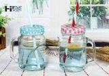 450ml 15.8oz unterschiedlicher Form-Milch-Saft-Tee-Kaffee-Glasglas mit Zinn-Kappe und Saugventil