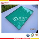 Folha azul verde desobstruída revestida UV do sólido do policarbonato