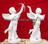 Pedra de mármore esculpida Escultura de querubim estátua de anjo (SY-X042)