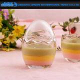 デザートのためのかわいい卵の形プディングガラスビン