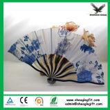De Ventilator van de Hand van het Bamboe van de Stof shell-Haped voor Dame