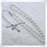 La nuova Styel vendita calda di 2015 borda il rosario di plastica religioso, il rosario bianco dei branelli della Rosa (IO-cr283)