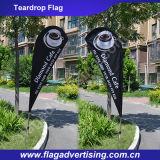 Im Freienförderung-Strandteardrop-Fahne, Markierungsfahne bekanntmachend