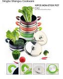 Покрынный ручкой алюминиевый Non-Stick Stockpot сковороды для Cookware устанавливает Sx-Yt-A011