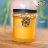 De berijpte Glas Gebemerkte Kaarsen van de Soja met de Uitstekende Houten Kaarsen van de Gift van de Dekking