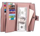 Große Kapazitäts-echtes Leder-Karten-Organisator-Dame-Luxuxfonds der Frauen