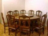 Античный Rose-Wood обедая таблица комплекта 1 с 10 стулами