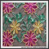Цветастой флористической шнурок рейона ткани вышивки вышитый сеткой