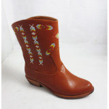 Dame Flat Boot mit Fachion Embroidery