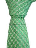 Галстук зеленого жаккарда Silk с картиной проверки для человека