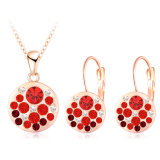 Oro Plated Round Shaped con Crystal Jewelry Sets 10colors (PCST0004-C)