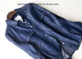 Camice del Pieno-Manicotto della camicetta del cardigan del denim del risvolto di alta qualità