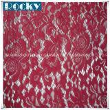 Azo vermelho tingido de Oeko da tela do laço do laço do Spandex da qualidade livre