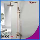 Fyeer Exposed Bathroom Antique Brass Rainfall Shower Set