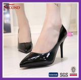 Graue Farbe glänzende PU-Frauen-Schuhe