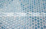 azulejo de mosaico de cerámica azul brillante redondo del penique de 19m m (CZG007A)