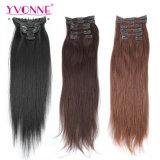 Clip de la venta caliente en la extensión del pelo el 100% del pelo humano