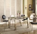 Самомоднейшие комплекты стула таблицы нержавеющей стали верхней части камня столовой