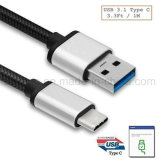 [Type에 스퀘어 75] USB 3.1 Type C Male USB 3.0 Male Cable 3.3 FT Nylon Braided, Google Nexus를 위한 USB C Reversible Data Charger Cable 및 Other 유형 C Devices