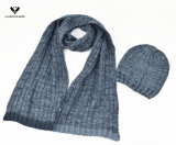 Beanie stabilito della sciarpa lavorato a maglia nervatura di inverno 2PC