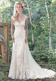 Spitze-Tulle-bräutliche formale Kleider A - Zeile reizvolles Raupe-Hochzeits-Kleid S201763