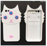 3D caixa branca nova do silicone do gato dos desenhos animados 3eyes para iPhone6