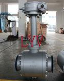 Válvula de esfera soldada com engrenagem sem fim com haste de extensão
