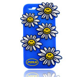 caixa colorida do telefone de pilha do silicone do girassol do sorriso 3D para o iPhone 6 6plus 7 7plus (XSF-017)